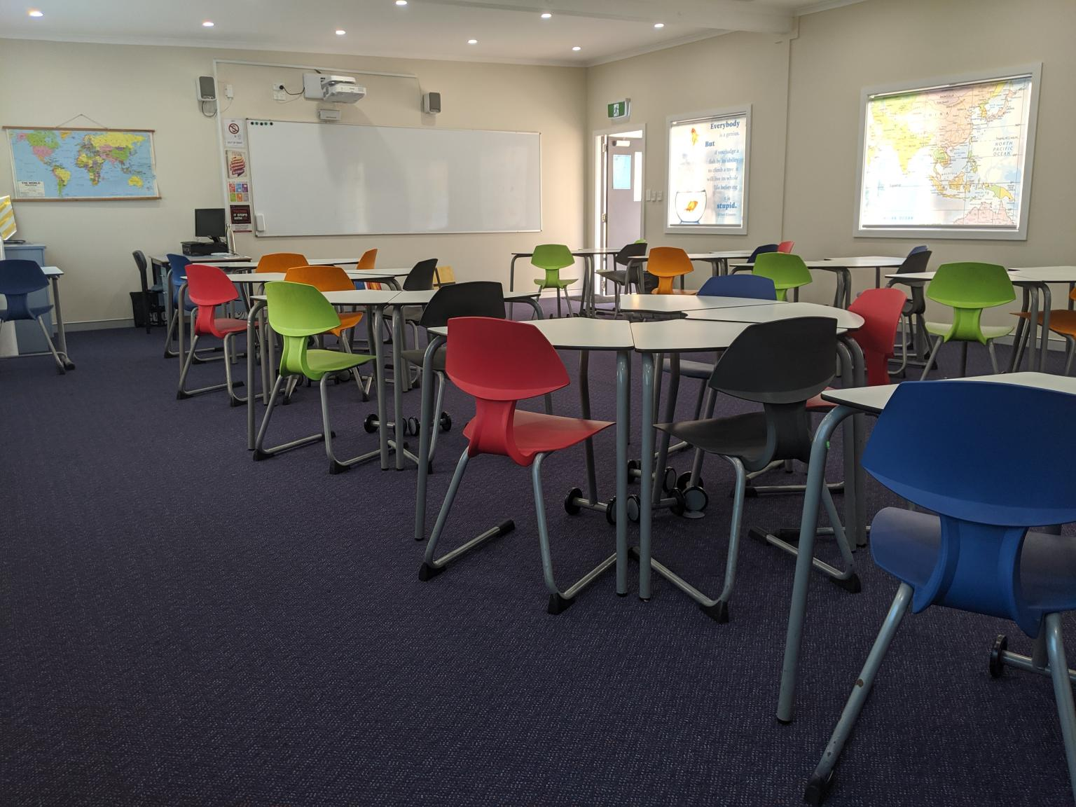 colourful demountable classroom desks